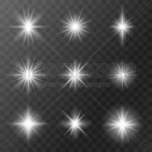 Set of realistic stars with bright rays of light - Vector illustrations for everyone | Microstocker.Pro