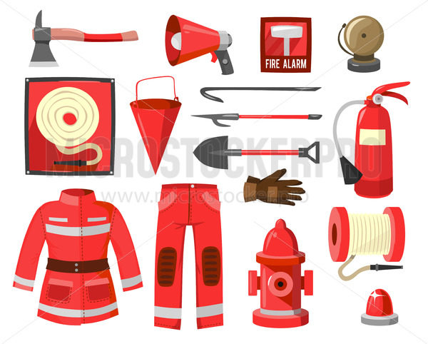 Set of red firefighter supplies and equipment - Vector illustrations for everyone | Microstocker.Pro