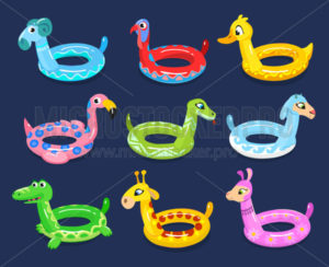 Set of summer circle animal floats for swim - Vector illustrations for everyone | Microstocker.Pro