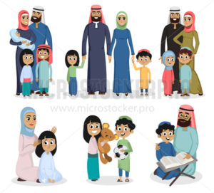 Set of traditional muslim families on white background - Vector illustrations for everyone | Microstocker.Pro