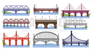 Set of various bridges with river or lake - Vector illustrations for everyone | Microstocker.Pro