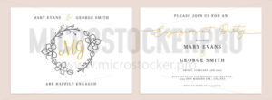 Set of wedding invitation cards design templates - Vector illustrations for everyone | Microstocker.Pro