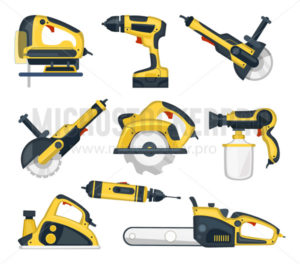 Set of yellow power tools for professional craftsman - Vector illustrations for everyone | Microstocker.Pro