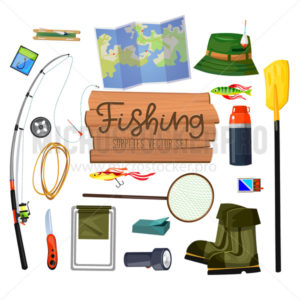 Set with fishing supplies for active outdoor rest - Vector illustrations for everyone | Microstocker.Pro