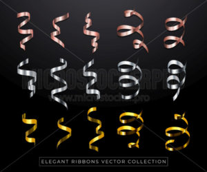 Silver, golden and rose gold ribbons set - Vector illustrations for everyone | Microstocker.Pro