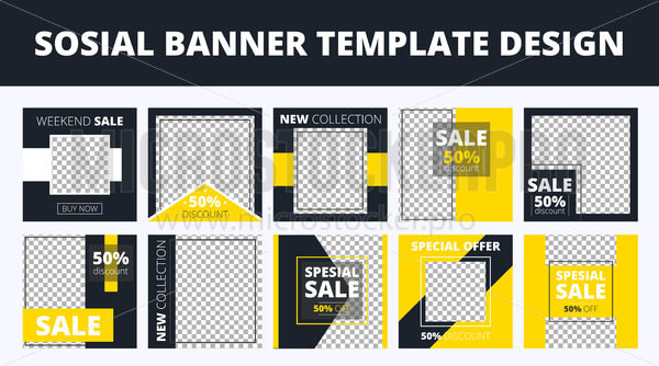 Social media sale banners with information - Vector illustrations for everyone | Microstocker.Pro