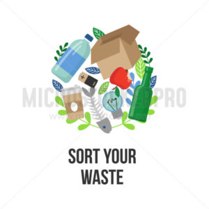 Sort your waste eco motivational lettering - Vector illustrations for everyone | Microstocker.Pro