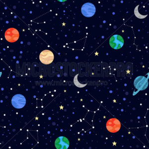 Space elements stars and planets seamless pattern - Vector illustrations for everyone | Microstocker.Pro