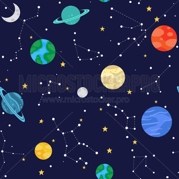 Space seamless pattern with colourful planets and constellations - Vector illustrations for everyone | Microstocker.Pro