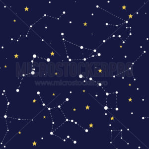 Space seamless pattern with comets constellations and stars - Vector illustrations for everyone | Microstocker.Pro