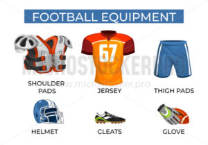 Special equipment for professional football player set - Vector illustrations for everyone | Microstocker.Pro
