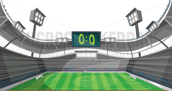 Sports stadium with lights and zero sum game - Vector illustrations for everyone | Microstocker.Pro