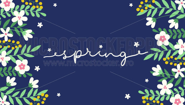 Spring background or banner decorated with flowers - Vector illustrations for everyone | Microstocker.Pro