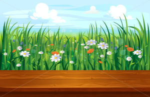 Spring landscape with colourful flowers and wooden ground - Vector illustrations for everyone | Microstocker.Pro