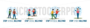 Stop verbal social physical cyber bullying set - Vector illustrations for everyone | Microstocker.Pro