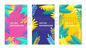 Summer backgrounds set with tropical leaves - Vector illustrations for everyone | Microstocker.Pro