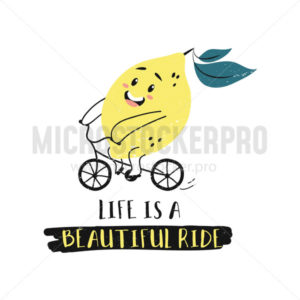 Summer card with cartoon cute lemon character - Vector illustrations for everyone | Microstocker.Pro