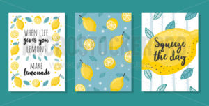 Summer cards set with lemons and lettering - Vector illustrations for everyone | Microstocker.Pro