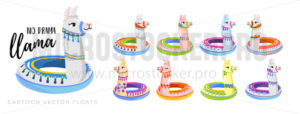Summer floats and no drama llama fun inscription - Vector illustrations for everyone | Microstocker.Pro