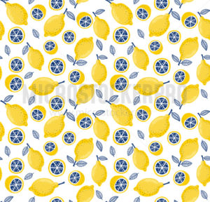Summer seamless pattern with fresh bright juicy lemons - Vector illustrations for everyone   Microstocker.Pro