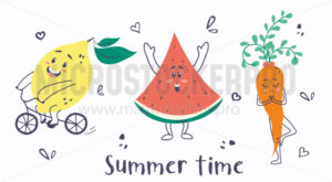 Summer time cute card with lemon, watermelon and carrot - Vector illustrations for everyone | Microstocker.Pro