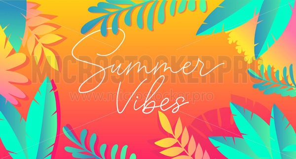 Summer vibes with exotic palm leaves and plants - Vector illustrations for everyone | Microstocker.Pro