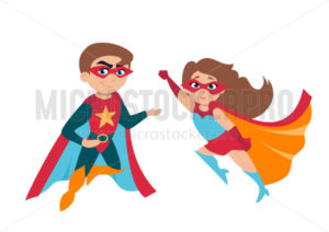 Superhero boy and girl in cute costumes and masks - Vector illustrations for everyone | Microstocker.Pro
