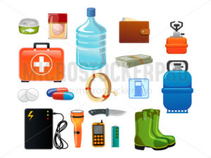 Survival emergency for evacuation set in cartoon style - Vector illustrations for everyone | Microstocker.Pro