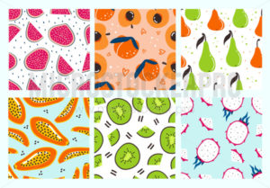 Sweet delicious tropical fruits seamless patterns - Vector illustrations for everyone | Microstocker.Pro