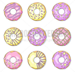 Tasty sweet colorful donuts with sprinkles set - Vector illustrations for everyone | Microstocker.Pro