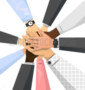 Team of business people putting hands together - Vector illustrations for everyone | Microstocker.Pro
