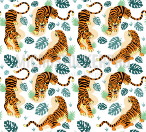 Tigers with tropical leaves seamless pattern - Vector illustrations for everyone | Microstocker.Pro
