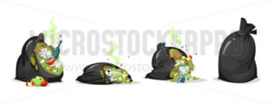 Trash bags with plastic and food waste set - Vector illustrations for everyone | Microstocker.Pro