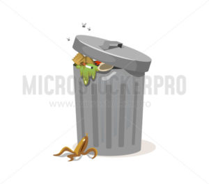 Trash can filled with rubbish and peel from banana - Vector illustrations for everyone | Microstocker.Pro