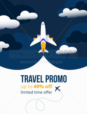 Travel promo up to forty percents discounting flyer - Vector illustrations for everyone | Microstocker.Pro