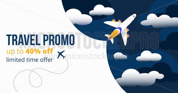 Travel promo up to forty percents off banner - Vector illustrations for everyone | Microstocker.Pro