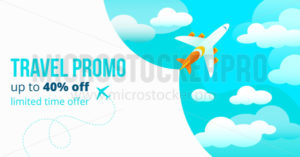Travel promo up to forty percents off poster - Vector illustrations for everyone | Microstocker.Pro
