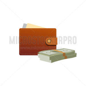 Wallet with paper money icon in cartoon style - Vector illustrations for everyone | Microstocker.Pro