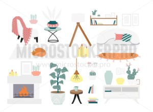 Warm and cozy home furniture and decor set - Vector illustrations for everyone | Microstocker.Pro