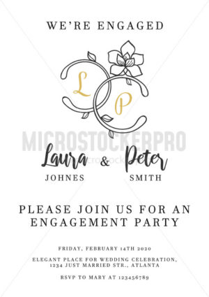 Wedding invitation design template with floral elements - Vector illustrations for everyone | Microstocker.Pro