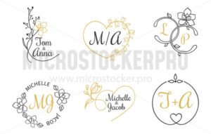Wedding invitation labels with floral elements - Vector illustrations for everyone | Microstocker.Pro