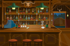 Wild west bar in wooden style with lots of alcohol - Vector illustrations for everyone | Microstocker.Pro