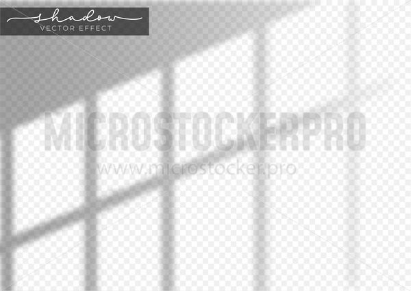 Window light and realistic grey shadow effect - Vector illustrations for everyone   Microstocker.Pro