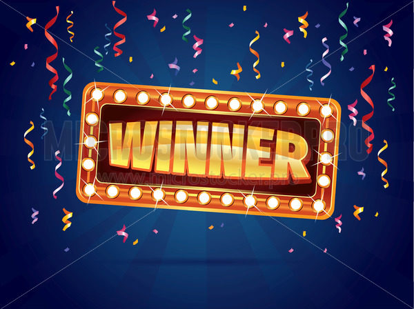 Winner banner with ribbons and confetti on dark background - Vector illustrations for everyone | Microstocker.Pro