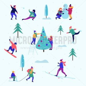 Winter pattern or background with people performing activities - Vector illustrations for everyone | Microstocker.Pro