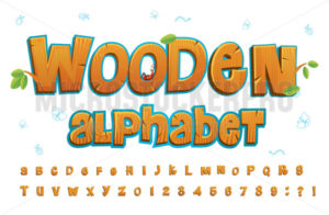 Wooden alphabet in cartoon style on white background - Vector illustrations for everyone | Microstocker.Pro