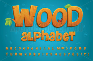 Wooden alphabet in cartoon style with set of letters - Vector illustrations for everyone | Microstocker.Pro