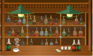 Wooden bar in wild west old style with booze - Vector illustrations for everyone | Microstocker.Pro