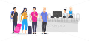 Workers and travelling people at airport - Vector illustrations for everyone | Microstocker.Pro