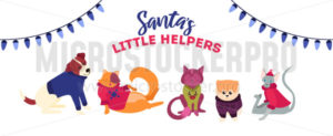 Xmas cute, festive cats and dogs template - Vector illustrations for everyone | Microstocker.Pro